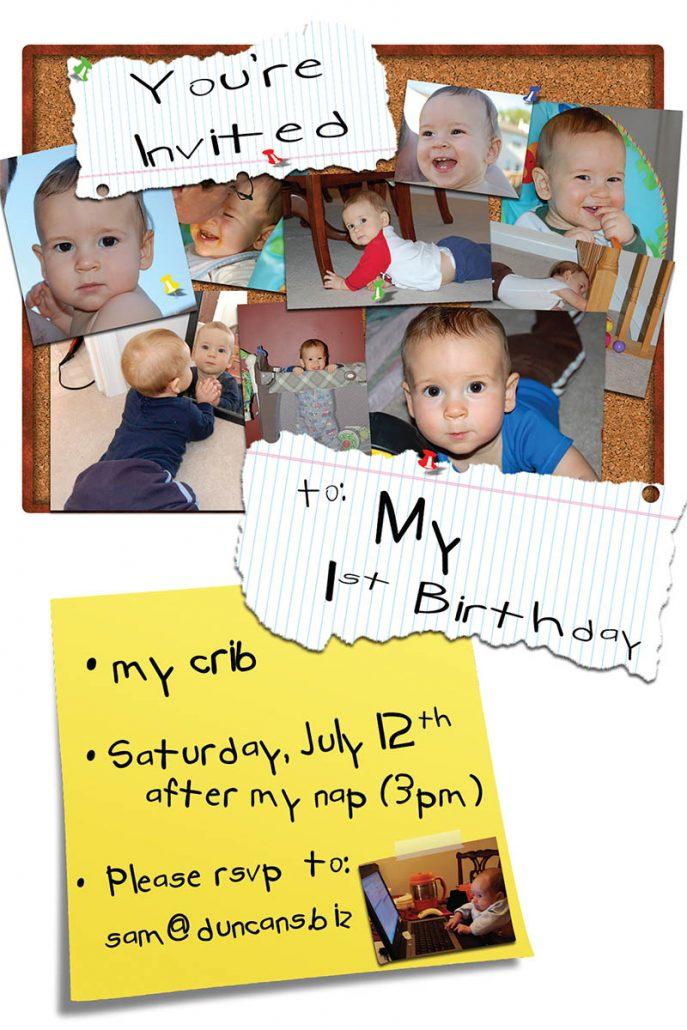 Sammy's 1st bday invite