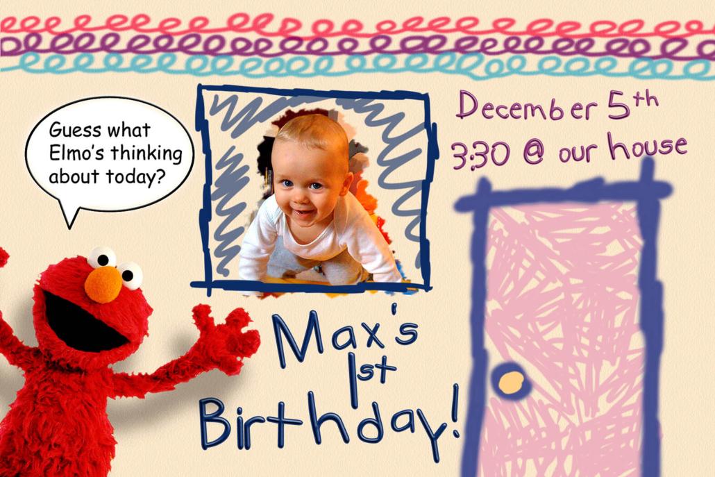 Max's 1st Birthday Invite